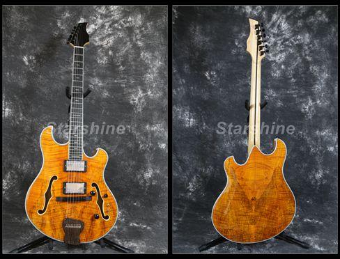 Starshine corps creux guitare électrique XY-LG60 Style Languedoc matelassé érable haut bon micros 3 pièces érable cou Grover accordeur