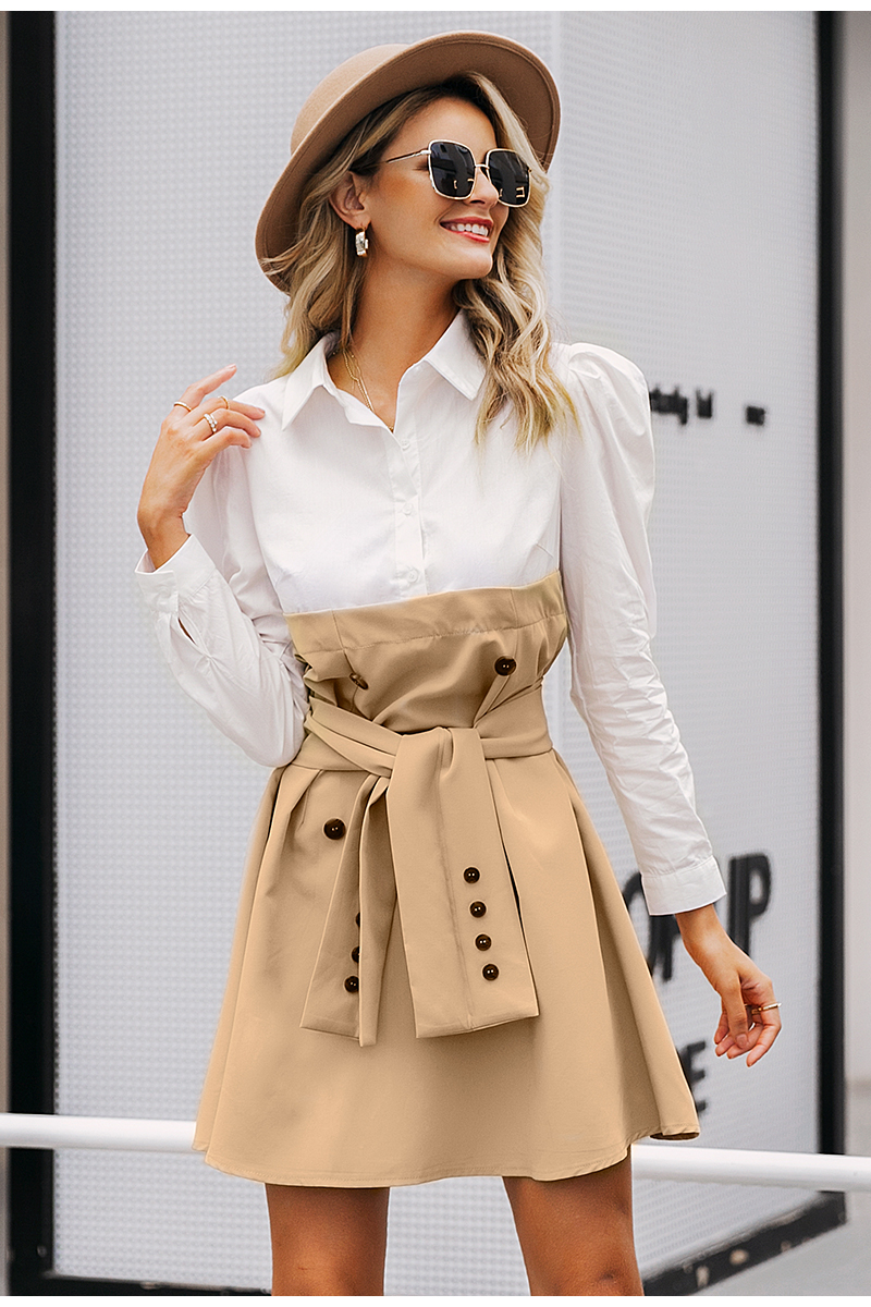 Simplee Patchwork puff sleeve shirt dress women Elegant button sash belt office ladies dresses Autumn ladies khaki work dress 5