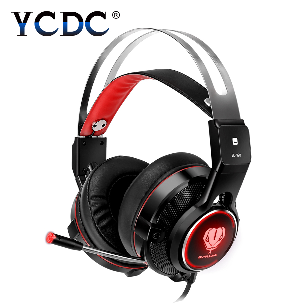 YCDC SL-320 Red Gaming Headset Computer Headphone 3.5mm with Mic Noise Cancelling for Mac