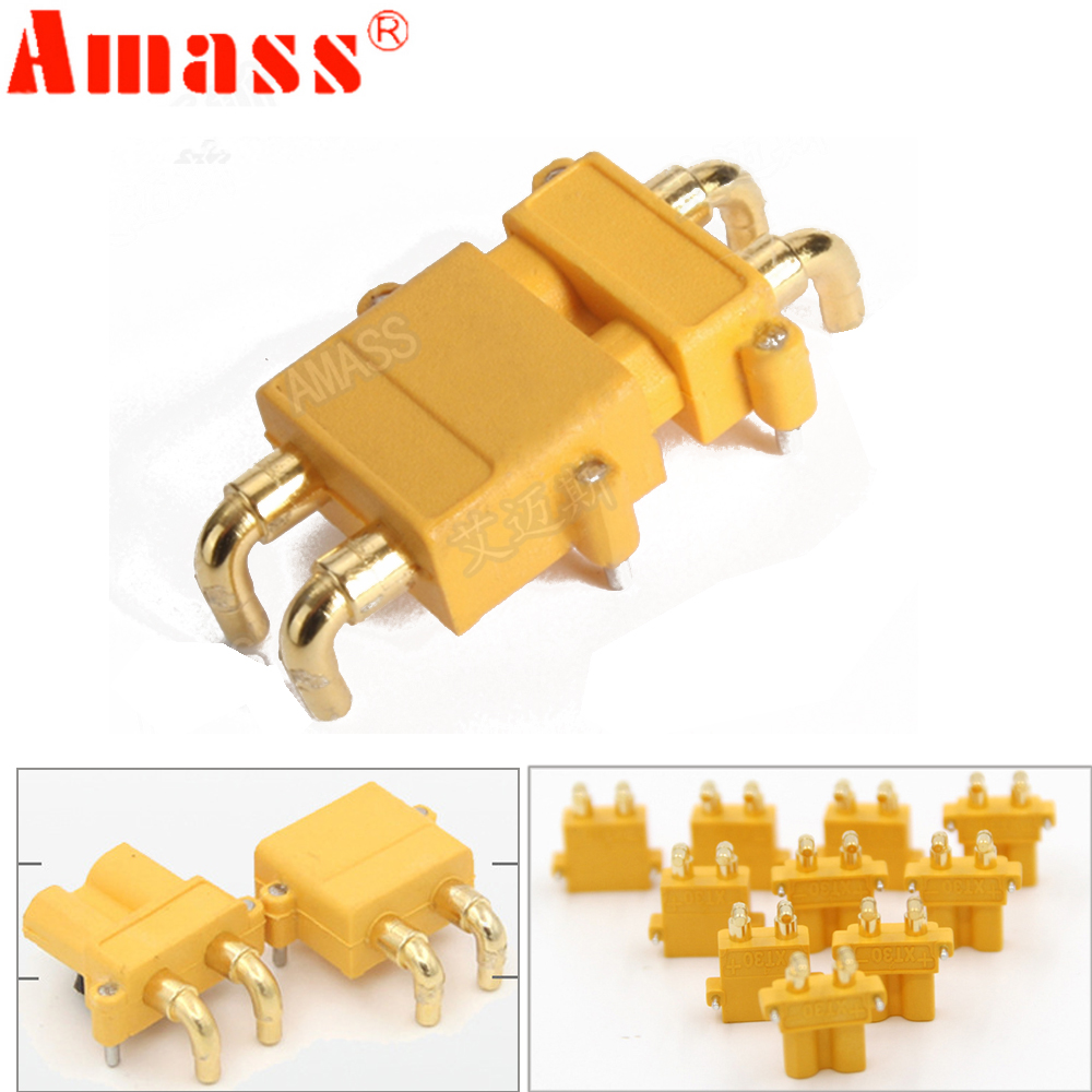 100 x AMASS XT30PW Banana golden XT30 Upgrade Right Angle Plug Connector male female ESC Motor PCB board plug connect (50 Pair ) image