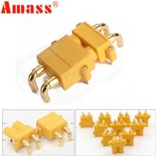 100 x AMASS XT30PW الموز الذهبي XT30 ترقية الزاوية اليمنى موصل قابس ذكر أنثى ESC موتور لوحة دارات مطبوعة التوصيل الاتصال (50 زوج)