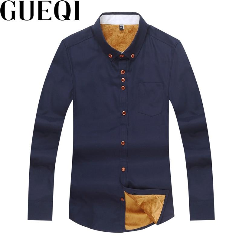 Gueqi add fleece men warm shirts plus size m 5xl autumn winter long sleeve wear 2017