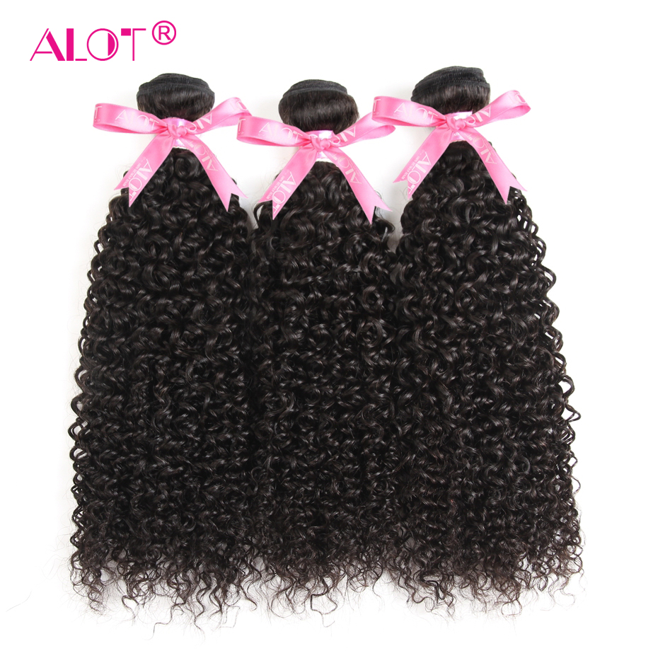 ALOT Hair 100 Human Hair Brazilian Kinky Curly Hair Weaving 3 Bundles Non Remy Hair Extensions