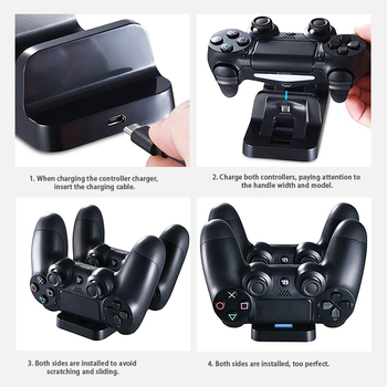 Dual Power Supply Charging Dock Station For Sony Playstation 4 PS4 Slim PS4 Pro Controller Charger 5