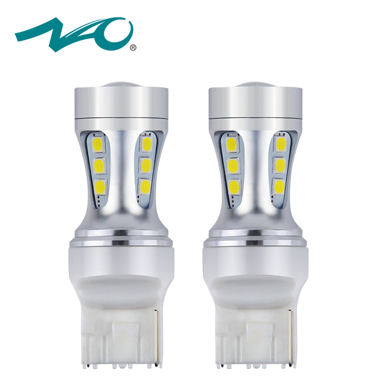 NAO 2pcs 7440 W21W LED 3030 Red 12V T20 Bulb Car Light Lamp DRL SMD Auto White Amber Front Turn Signal Reverse Stop Light h1 led bulbs super bright high power t10 h3 10 smd 5630 auto led car fog signal turn light driving drl lamp 12v white amber red