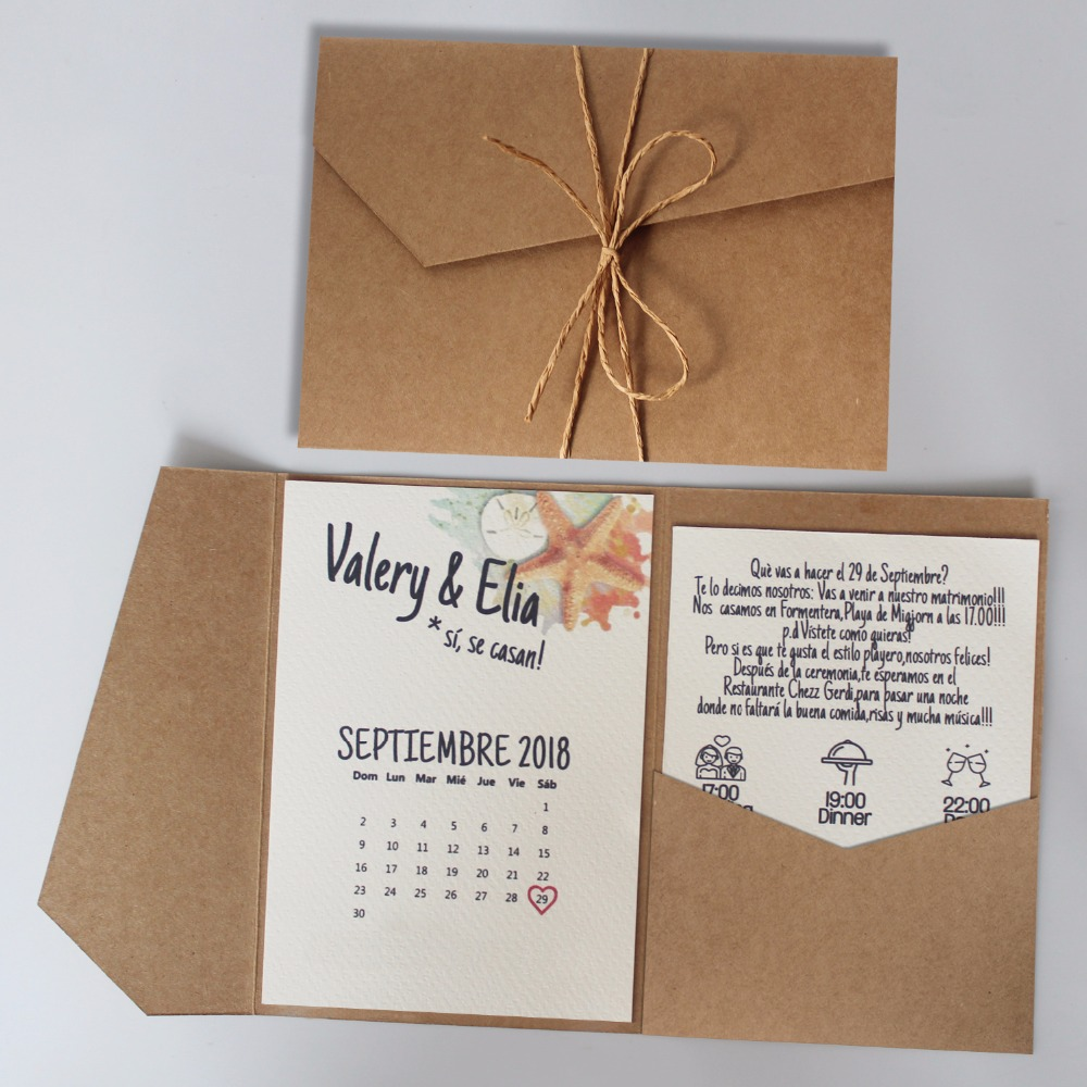 Us 115 0 Rustic Wedding Invitation Kraft Paper Cards Undersea World Invitations With Customized Wording Set Of 50 In