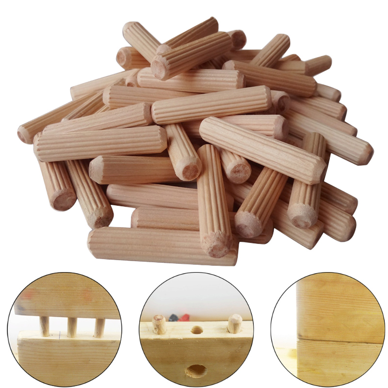 100Pcs Woodworking Doweling <font><b>Jig</b></font> Kit Round Grooved Fluted Wooden Plug <font><b>Wood</b></font> Dowel Pins Rod Drilling Guide Locator <font><b>Tool</b></font> image