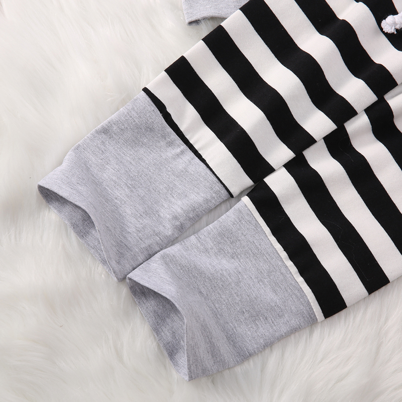 New Casual Newborn Toddler Kids Baby Boy Girl Striped Hooded Tops Long Pants Outfits Clothes Set