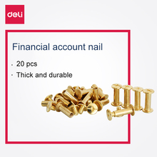 Deli 10 pairs/20 pcs financial screw loose copper nail binding books book docking composite screw nail metal good quality 3642