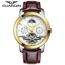 Люксовый Бренд GUANQIN Tourbillon Часы Мужчины Скелет 6 Стильный Кожаный Ремешок Моды Автоматические Часы 100 м Водонепроницаемый