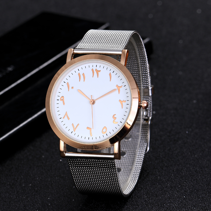Top Luxury Brand Arabic Women Watches Ladies Fashion Rose Gold Mesh Band Muslim Watch Montre Femme Zegarek Damski Relojes Mujer