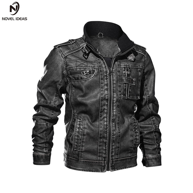 36480fd927b40 2018 New Arrivel Motorcycle PU Leather Jacket Men Cool Bomber Coat Pilot  Jacket Stand Collar Plus Size 3XL Mens Jackets   Coats