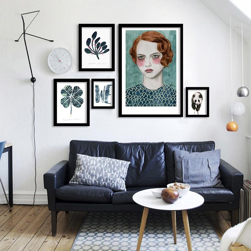 Abstrakts zaļš āboliņš meitene Panda retro tumši sienas māksla audekls gleznošana kadre sienas bildes dzīvojamā istaba Ziemeļu plakāts nesamazināts