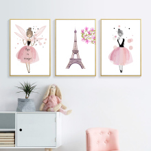 Tower and Flower Art Canvas Prints Cartoon Pink Girl Posters Kawaii Wall Painting Pictures For Kids Nursery Room Decor PL0125
