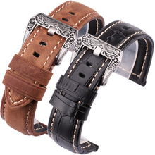22mm 24mm Genuine Leather Wathbands Men Black Brown Orange Wrist Watch Band Strap Belt Retro Brushed Buckle For Panerai цена