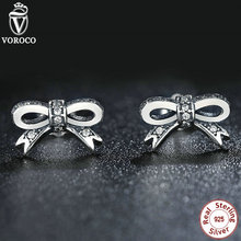 Delicate 925 Sterling Silver Glowing Bowknot Stud Earrings for Ladies Clear CZ Appropriate with Pan Jewellery S407