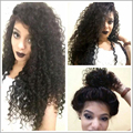 Kinky curly synthetic glueless lace front wig baby hair free part heat resistant natural looking 150% medium brown swiss lace