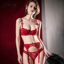 Yhotmeng sexy 3 pieces bra sets thin cotton half cup set embroidery lace lingerie women with garter belt plus size