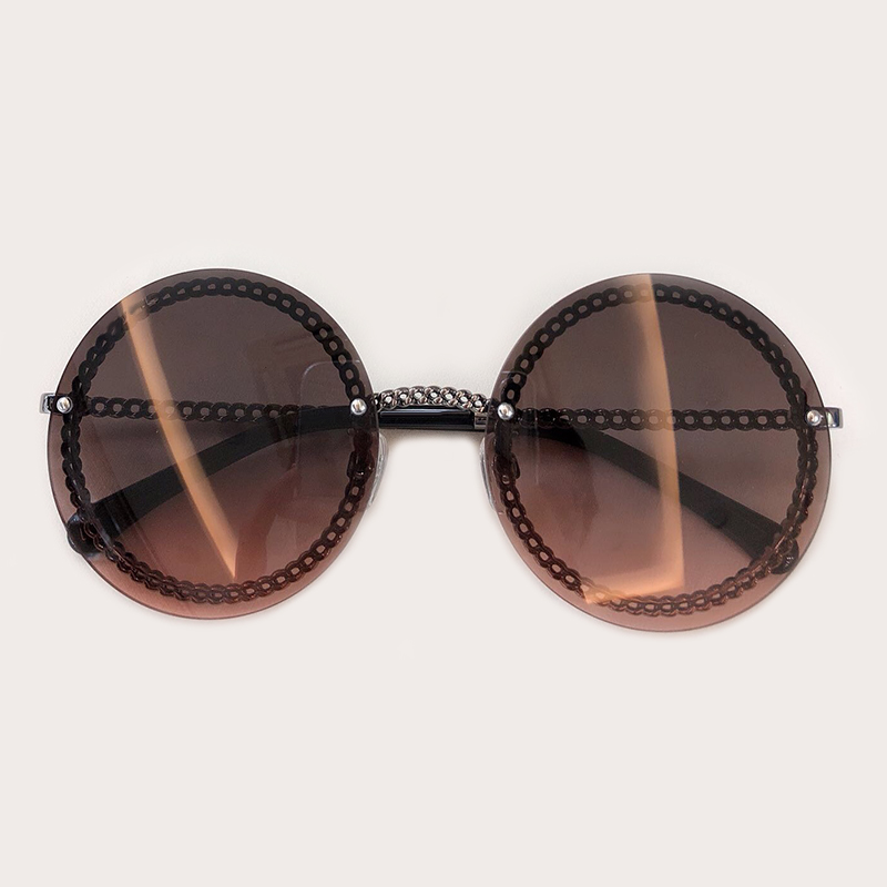 2019 De Feminino Runde Randlose no 2 Schutz Sol Uv400 Luxus Sonnenbrille No 3 Marke no Oculos Mode Kette 5 1 no 4 Mit Design Damen no npO0qzxZw