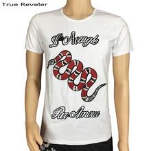 True Reveler Embroidery series blind for love men t shirt animal snake fashion hip hop tops tee asian size S-3XL