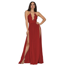 цена на Sexy Eyelash V Neck Long Dress Women Vintage Halter Lace Up High Slit Maxi Women Dress Elegant Night Party Dress Vestidos Robe