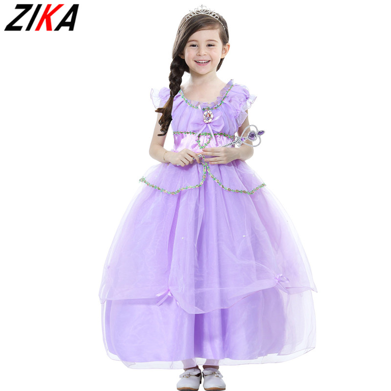 ZIKA Princess Summer Dresses Girls Sofia Cosplay Costume 6 Layers Children Kids Halloween Birthday Party Tutu Dresses Fantasy3-8