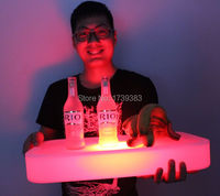 2ピース/ロット防水スクエアledライトアップカクテルトレイマルチ色充電式発光スナックサービストレイリモコ