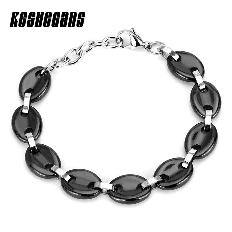 New Fashion Design Round Ceramic Charm Bracelet Classic Black White Color For Women Girl Bracelet Bangle Wedding Bridal Jewelry