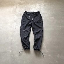 Black A-Cold-Wall* Pants 19ss Exclusive Teohnial Nylon Track Button Big Pockets Leg-tied A-Cold-Wall Trousers Men ACW