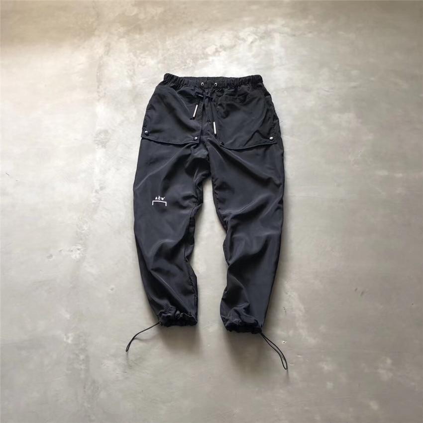 Noir a-cold-Wall * pantalon 19ss exclusif Teohnial Nylon survêtement pantalon bouton grandes poches jambe-attaché a-cold-Wall pantalon hommes ACW
