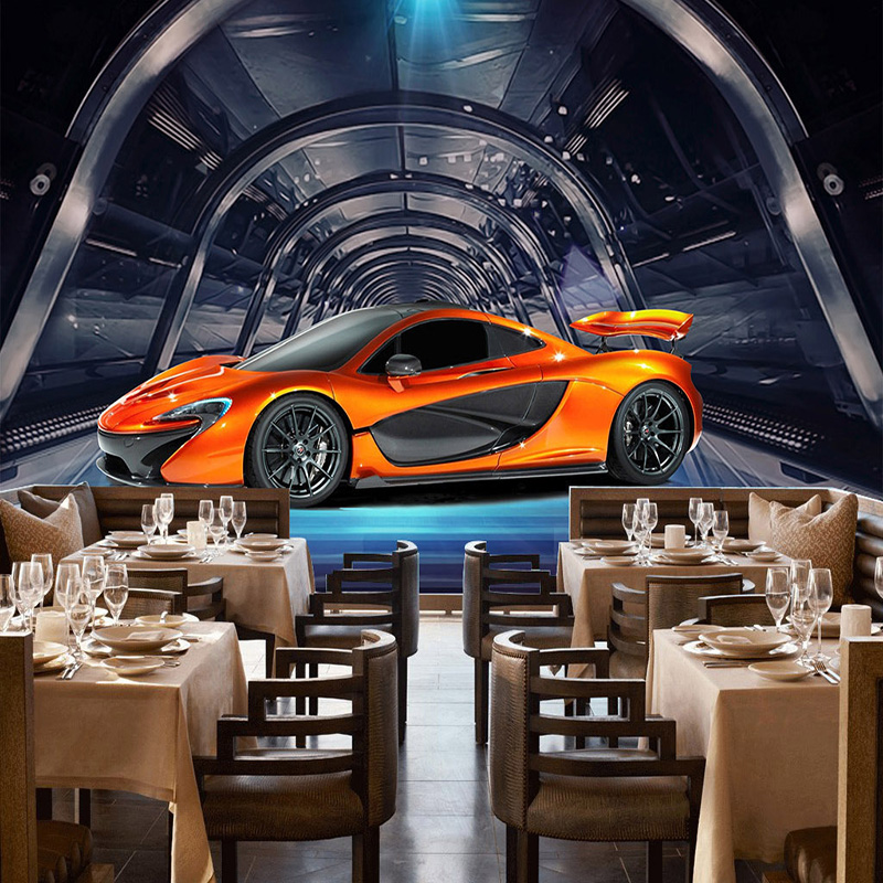 Custom Any Size Mural Wallpaper 3D Metal Textured Sports Car Cafe Children Kids Bedroom Backdrop Wall Painting Papel De Parede