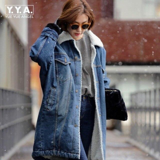 6196bd019c54 2019 New Arrival Korean Fashion Ladies Fleece Lined Winter Denim Coat Long  Loose Warm Jean Jacket Fur Lining Overcoat Outwear