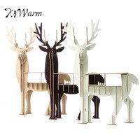 KiWarm HighQuality מודל פאזל עץ 3D Elk צביים בעלי החיים מודרני משרד ביתי קישוט דקור ריהוט מדף שולחן