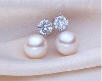 925 Silver Real Natural Big 8mm Beihai Pearl Princess Natural Pearl Earrings Earrings 925 Silver Inlaid