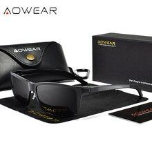 AOWEAR, настоящие, алюминиево-магниевые, поляризационные солнцезащитные очки, мужские, уф400, Ретро стиль, Роскошные, зеркальные, солнцезащитные очки, мужские, Oculos Gafas De Sol Hombre