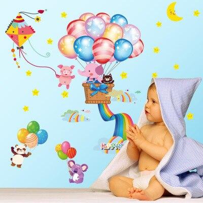 DIY Cartoon barevné balónky dětský pokoj dekorace nástěnka nálepka DIY zvířecí domácí nálepky na zeď nástěnná dekorace plakát tapety