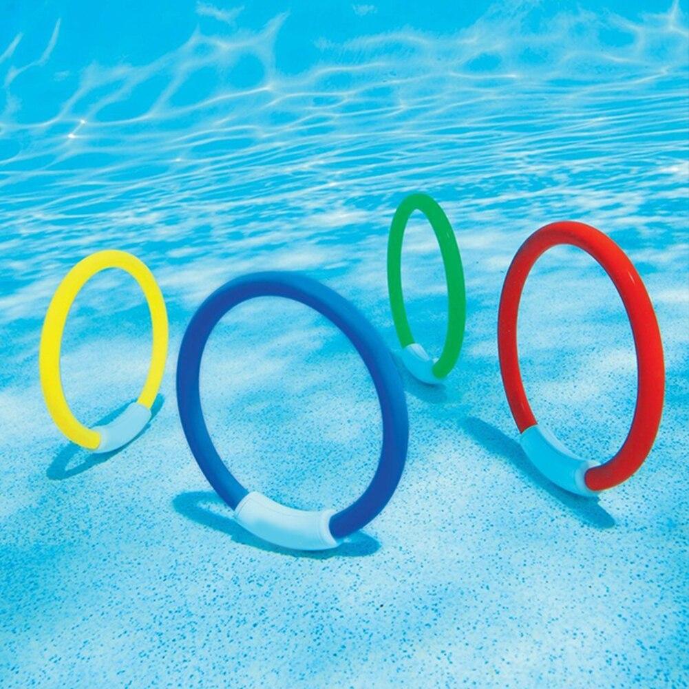 Osierr6 Dive Swimming Pool Rings,4 Ring Game Set, Kids Underwater Sport Ring Beach Toy