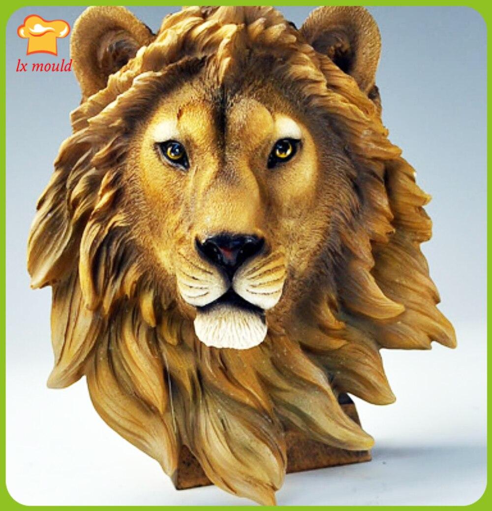 2019 nouveau lion tête silicone moule art résine plâtre animal tête mur décoration maison boutique moule offre spéciale