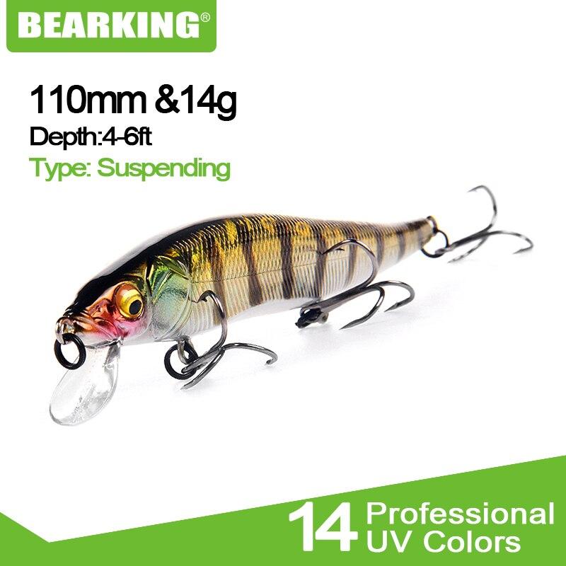 Bearking iscas duras de pesca w01, minnow, 11cm, 14g, de qualidade, mergulho profundo, wobblers, equipamento de pesca livre, 2018 envio do frete