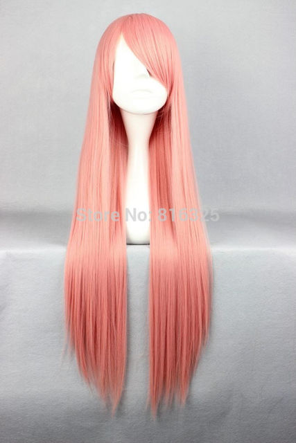 Wholesale price P&P>>Cosplay costume Wig 80cm Long Straight Lottie Pandora Hearts pink Anime Hair