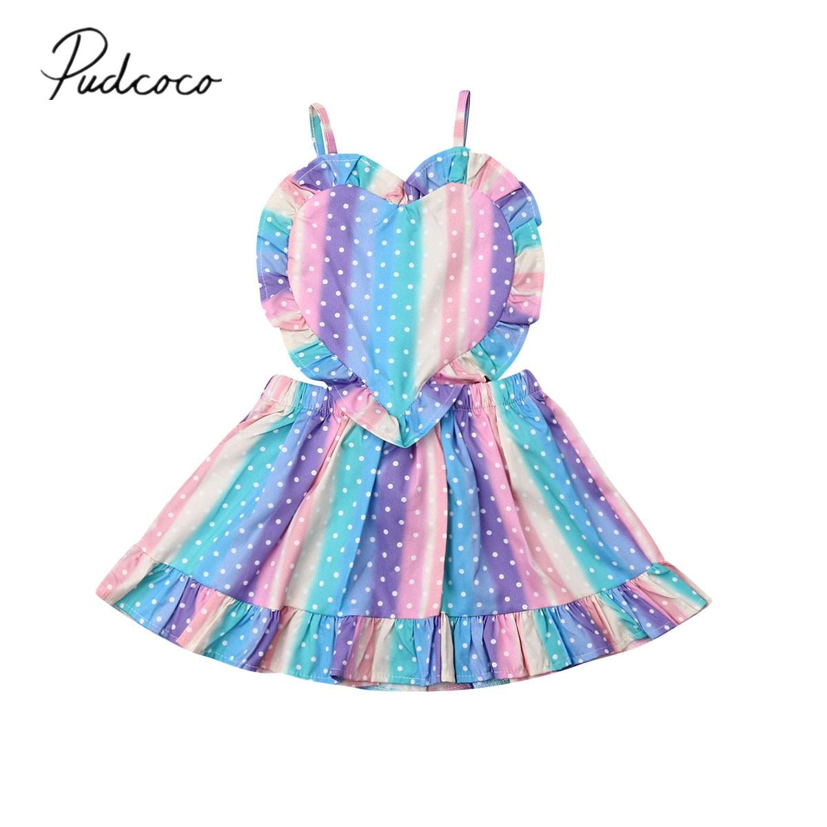 2019 bebê roupas de verão da criança do bebê meninas vestido colorido amor arco-íris listrado babados cinta vestido macacão roupa 1-5y