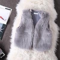 TUHAO Faux Fur Coat Winter Áo Khoác Không Tay Phụ Nữ Dải Lông Khâu Vest Mở Stitch Ngọt Ngào Ấm Áp Ngắn Năm Mới của Vest cho cô gái AM32