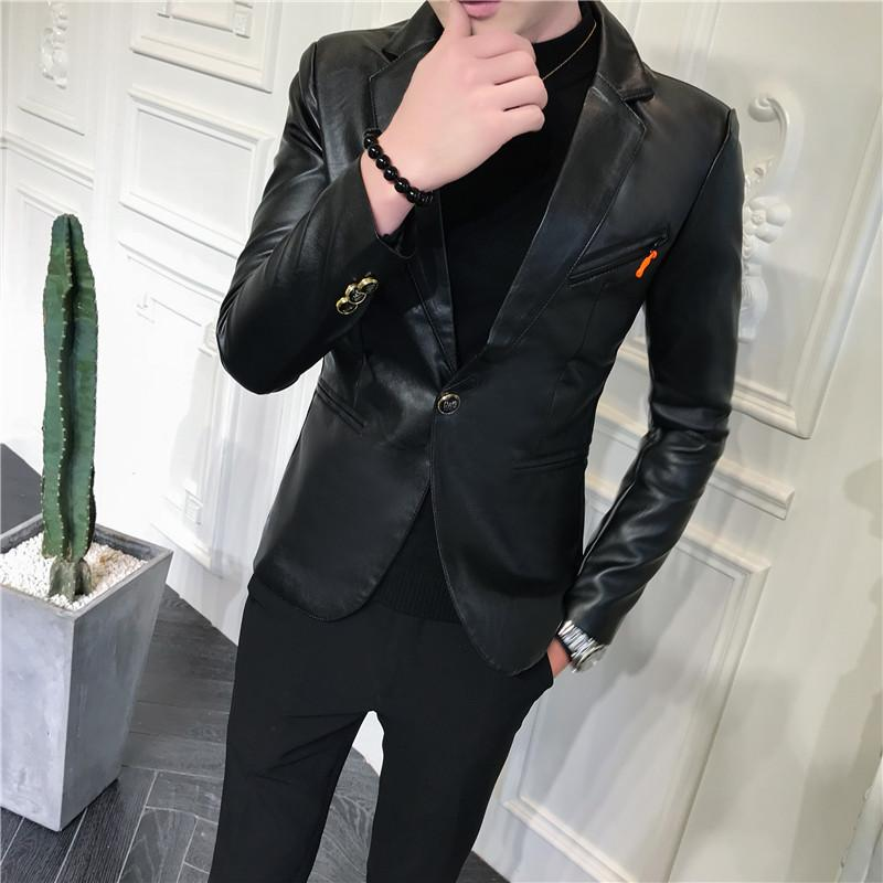 Leather Jacket Men Slim fit Casual Blazers Men Suits Clothes Mens Suits Tuxedos Black White Red 2019 New in Blazers from Men 39 s Clothing