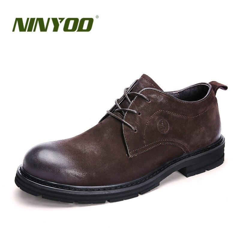 NINYOO printemps affaires hommes chaussures en cuir véritable chaussures homme 47 48 décontracté 49 caoutchouc Martin chaussures habillées grande taille 50 51 52