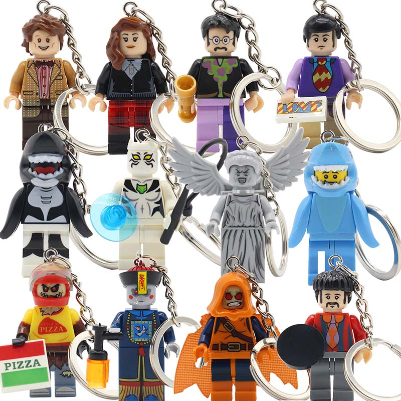 KAZI Cartoon Cute Block The Beatles Series Keychain Models & Building Set Brick George Harrison Key Chain Baby Gifts Toys chris wormell george and the dragon