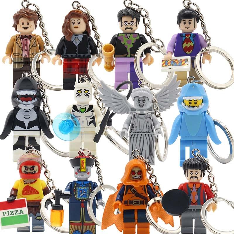 KAZI Cartoon Cute Block The Beatles Series Keychain Models & Building Set Brick George Harrison Key Chain Baby Gifts Toys george harrison george harrison living in the material world