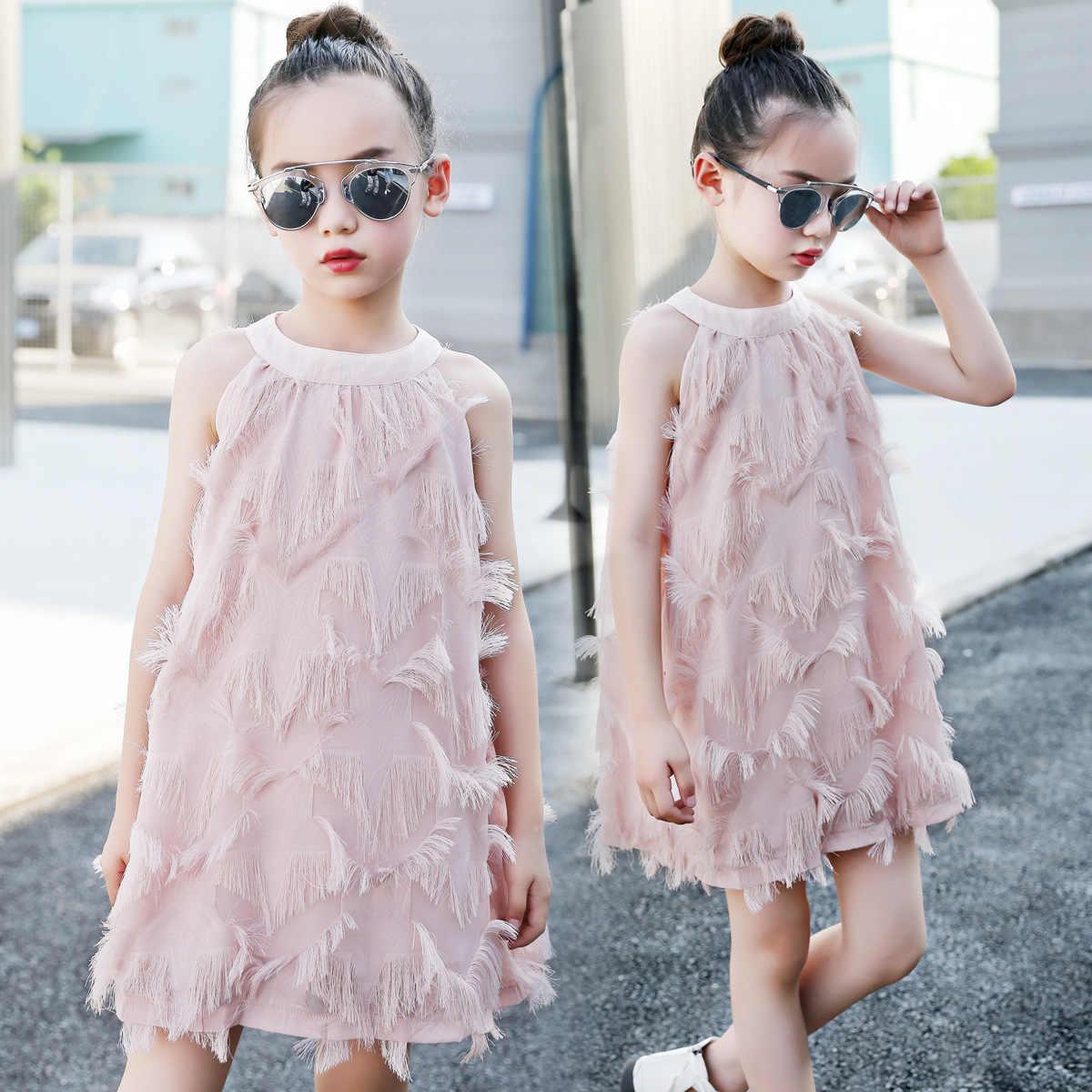 b3a469bf79 elegant princess tassel lace pink dress 4- 14 teenage girls summer clothes  kids children 2019 new big girls cool beach dresses