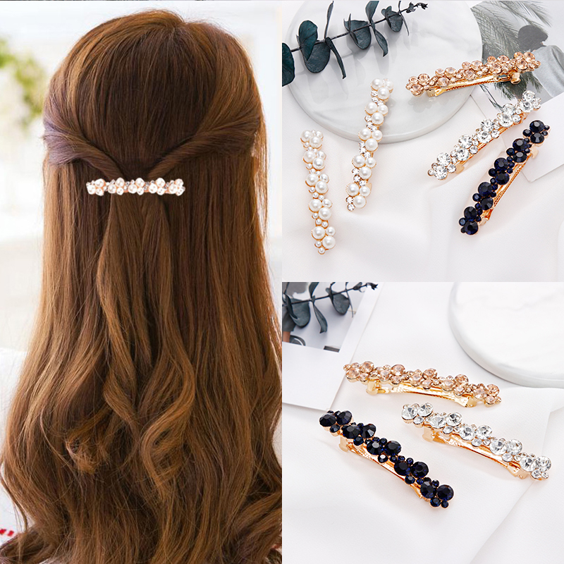 New Women Elegant Pearls Crystal Shining Barrettes Hair Clips   Headwear   Hair Holder Hairpins Beautiful Headbands Hair Accessories