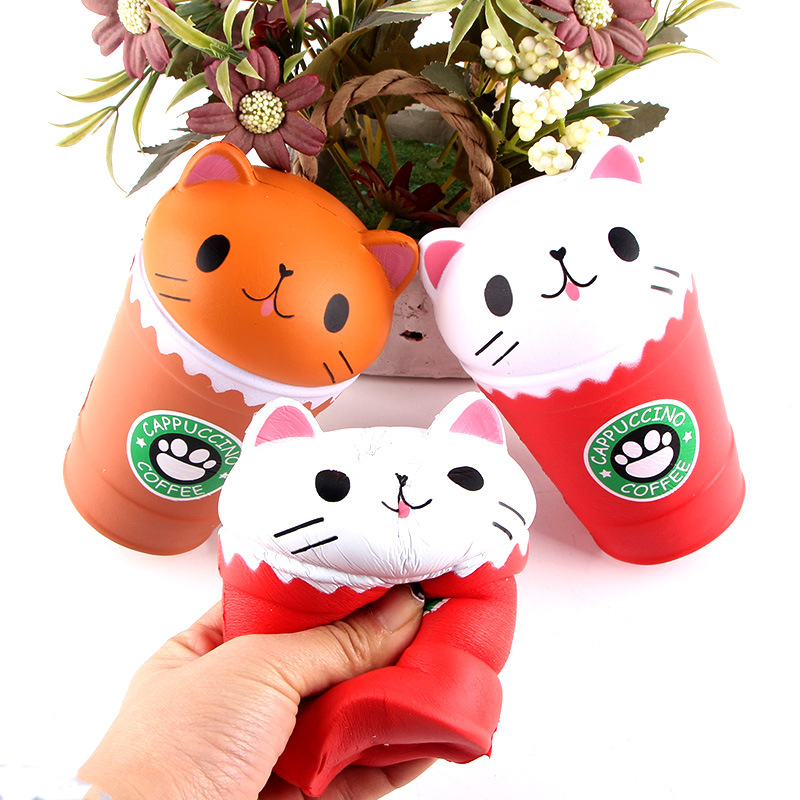 Soft Cat Squishy Jumbo Squash Object Anti-Stress Fidget Toys Cake Cute Squeeze Toy Sweet Ice Cream For Kids The Cat In The Cup