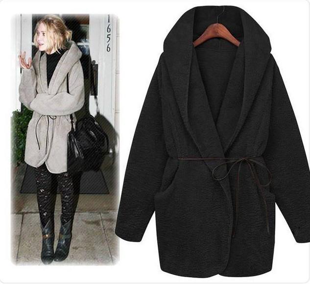 Casaco de inverno com capuz, casaco capa de pelúcia casaco grosso